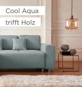 Cool Aqua trifft Holz